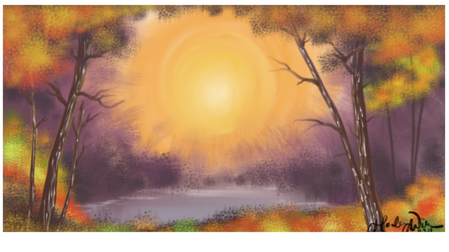 a painting of woods turning colors to the fall. They surround a small pond. the sun sets behind the scene.